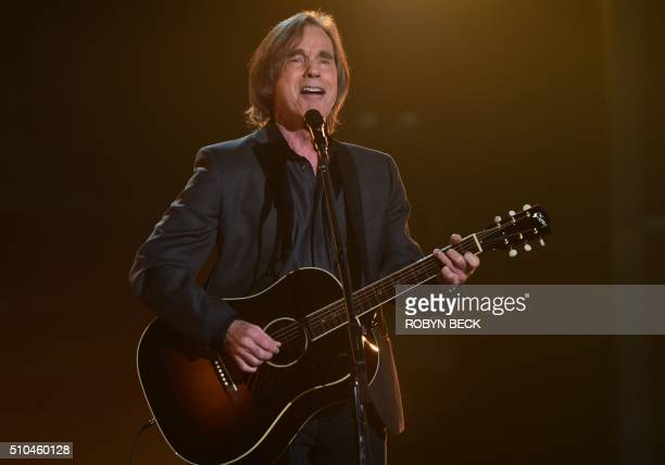 Singer Joe Walsh of the Eagles sings onstage during the 58th Annual Grammy music Awards in Los Angeles February 15 2016 AFP PHOTO/ ROBYN BECK / AFP /...