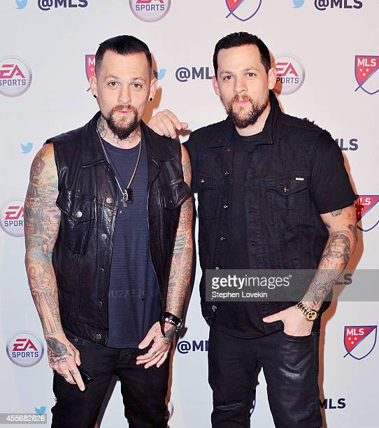 Singer Joel Madden and musician Benji Madden of The Madden Brothers attend The MLS Next FIFA 15 Launch Party at Skylight Modern on September 18 2014...