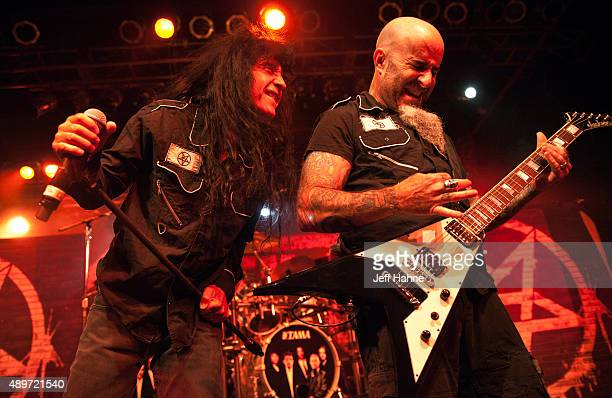Singer Joey Belladonna and guitarist Scott Ian of Anthrax perform at The Fillmore Charlotte on September 23 2015 in Charlotte North Carolina