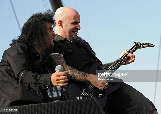 Singer Joey Belladonna and musician Scott Ian of Anthrax perform onstage during The Big 4 held at the Empire Polo Club on April 23 2011 in Indio...