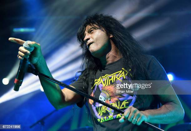 Singer Joey Belladonna of Anthrax performs during the Las Rageous music festival at the Downtown Las Vegas Events Center on April 21 2017 in Las...