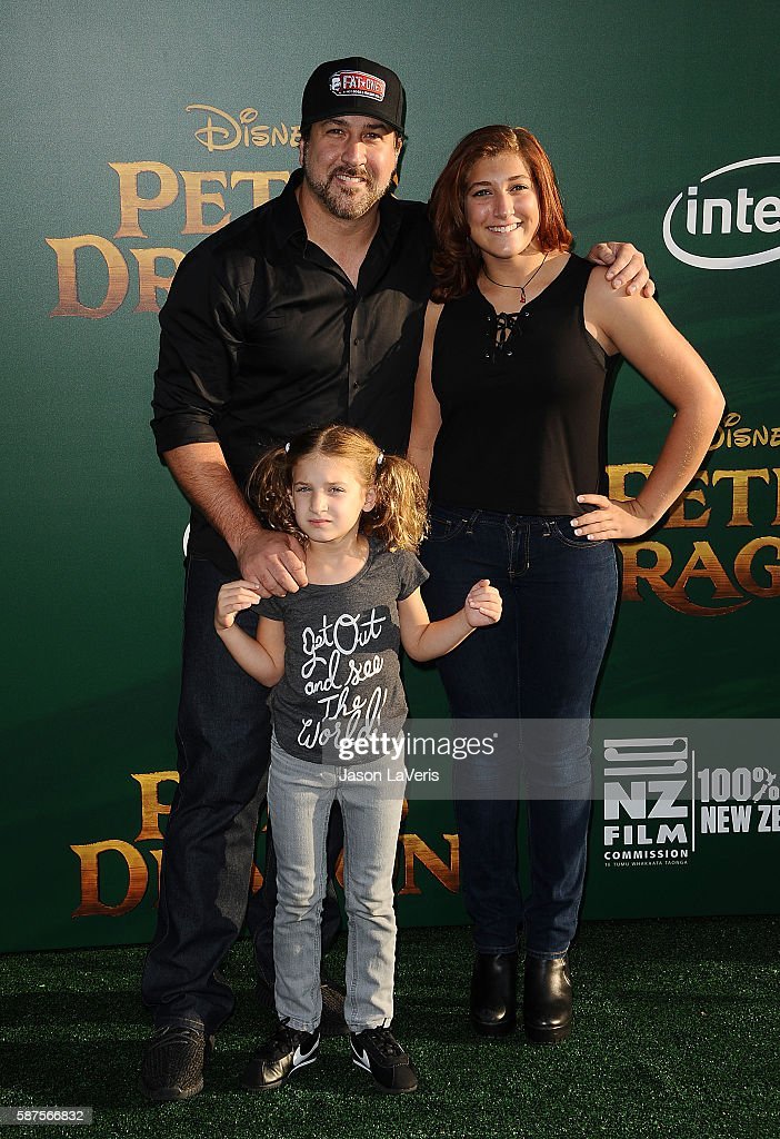 Singer Joey Fatone and daughters Briahna Joely Fatone and Kloey Alexandra Fatone attend the premiere of 'Pete's Dragon' at the El Capitan Theatre on...
