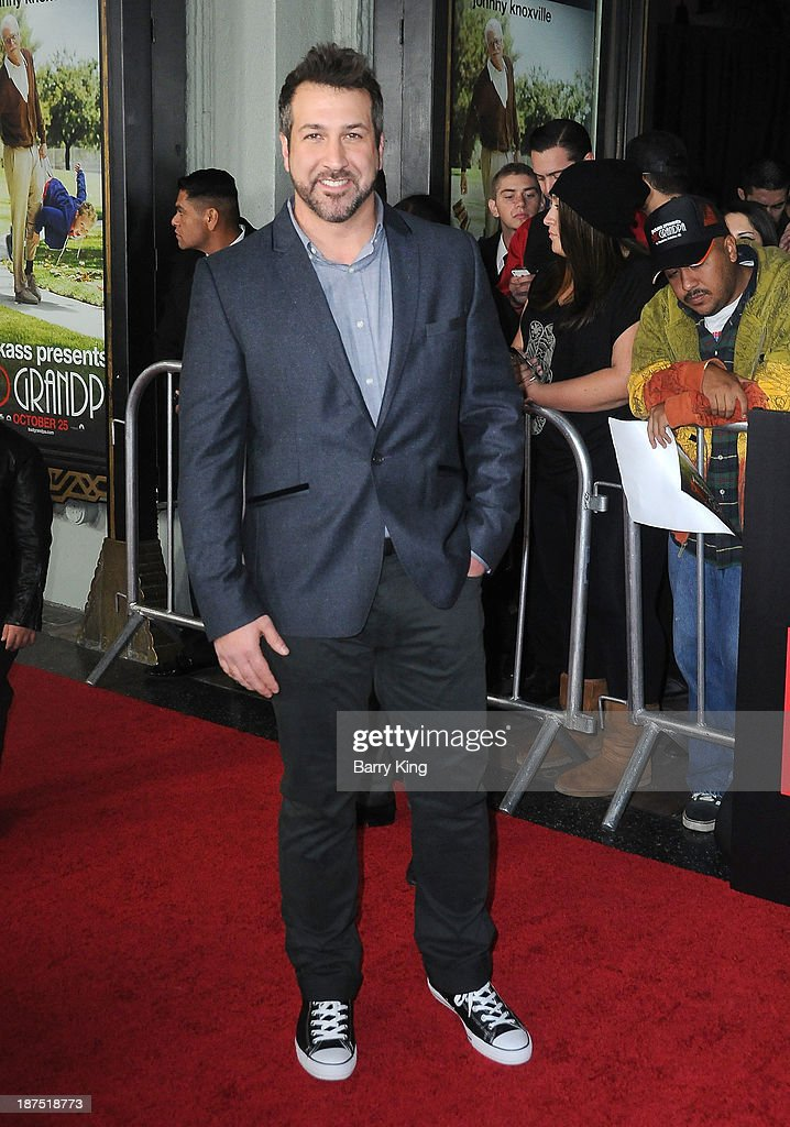 Singer <a gi-track='captionPersonalityLinkClicked' href=/galleries/search?phrase=Joey+Fatone&family=editorial&specificpeople=204237 ng-click='$event.stopPropagation()'>Joey Fatone</a> attends the Los Angeles premiere of 'Bad Grandpa: Presented by Jackass' on October 23, 2013 at TCL Chinese Theatre in Hollywood, California.