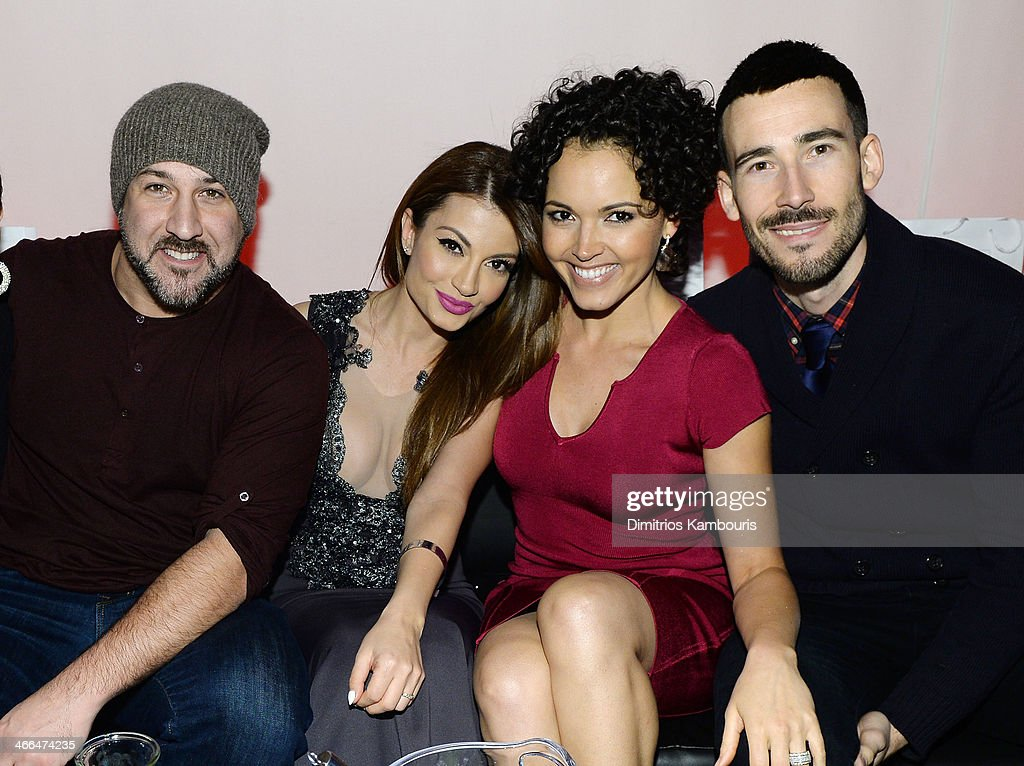 Singer Joey Fatone of 'N Sync, TV personality Layla Kayleigh, TV personality Susie Castillo, and Matt Leslie attend Talent Resources Sports presents MAXIM 'BIG GAME WEEKEND' sponsored by AQUAhydrat, Heavenly Resorts, Wonderful Pistachios, Touch by Alyssa Milano, and Philippe Chow on February 1, 2014 in New York City.