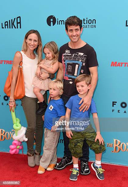 Singer Joey McIntyre and wife Barrett Williams and their children attend the premiere of Focus Features' 'The Boxtrolls' Red Carpet at Universal...