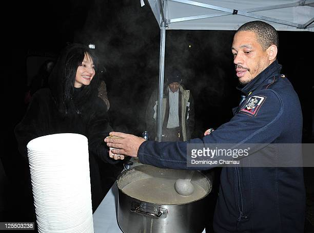 Singer Joey Starr and Actress Maria De Mederos attend the Fooding Awards 2010 at Parc des Buttes Chaumont on November 15 2010 in Paris France