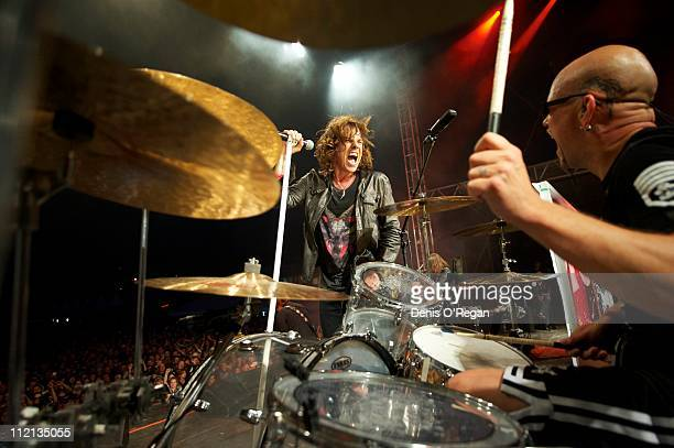 Singer Joey Tempest and drummer Ian Haugland of Swedish hard rock band Europe live in Finland July 2010