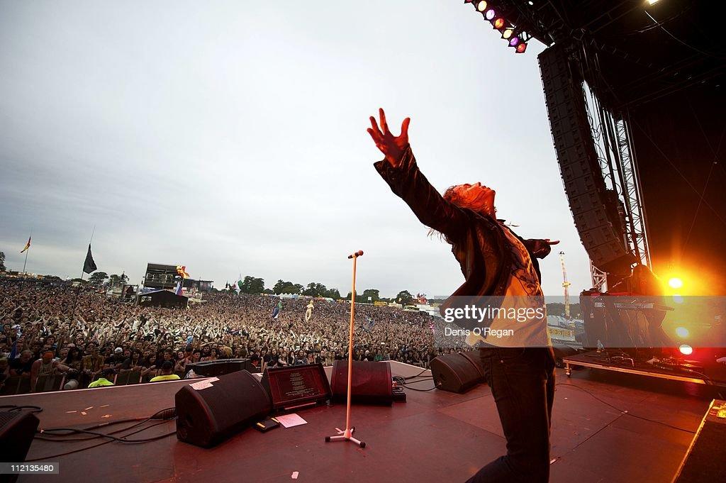Singer Joey Tempest of Swedish hard rock band Europe live at Sonisphere Knebworth UK, 2010.