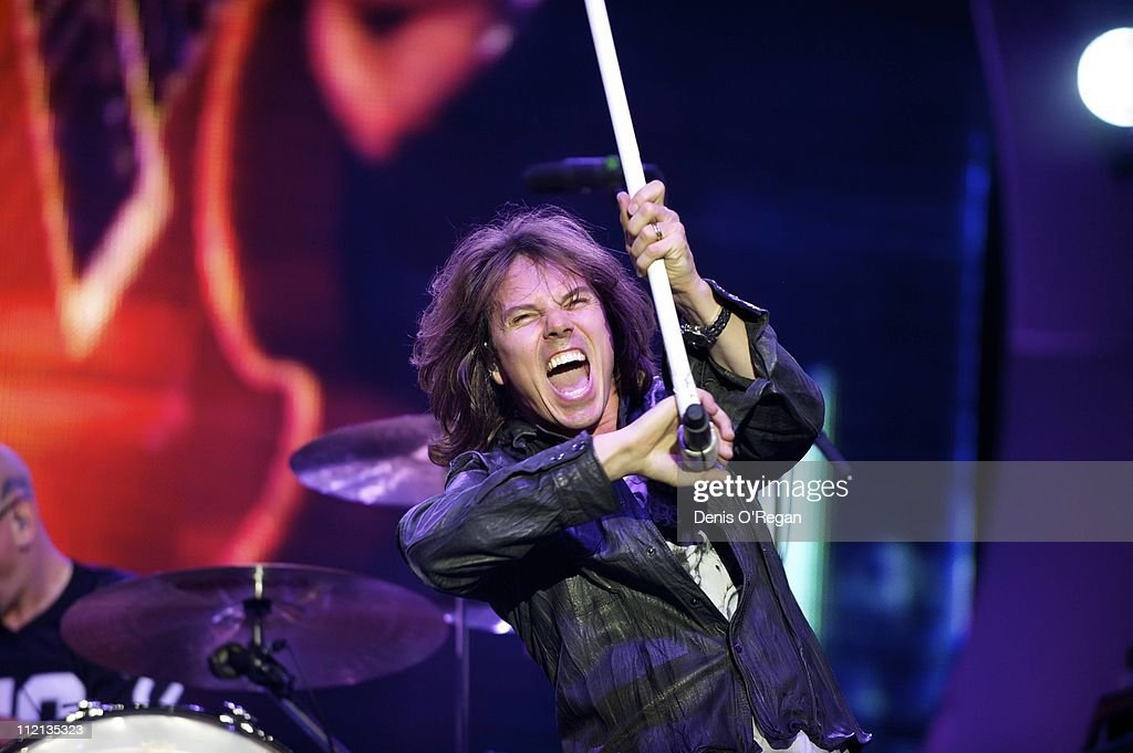 Singer Joey Tempest of Swedish hard rock band Europe live in Warsaw, June 2010.