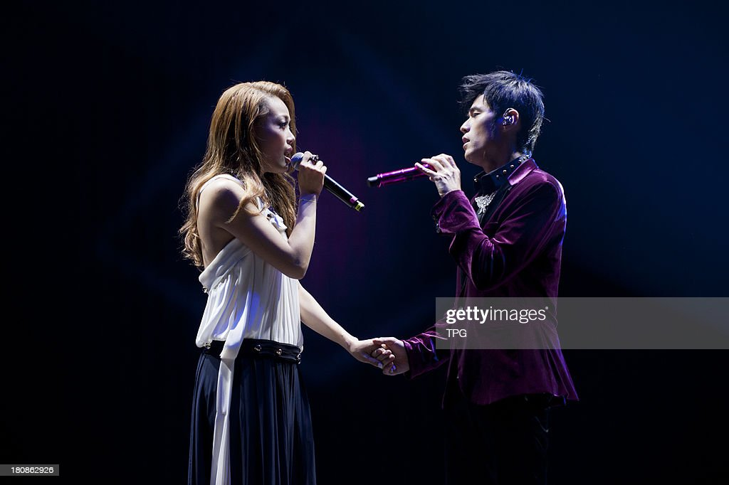 Singer Joey Yung and Jay Chou perform together at Jay`s 3rd concert on Sunday September 15,2013 in Hong Kong,China.