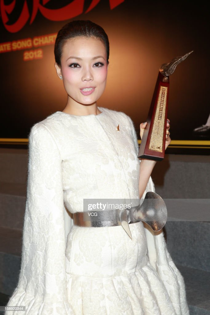 Singer <a gi-track='captionPersonalityLinkClicked' href=/galleries/search?phrase=Joey+Yung&family=editorial&specificpeople=798867 ng-click='$event.stopPropagation()'>Joey Yung</a> attends 2012 Chic Chak Music Awards at Hong Kong Convention and Exhibition Center on January 2, 2013 in Hong Kong, Hong Kong.