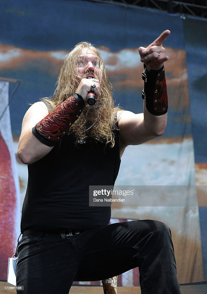 Singer Johan Hegg of Amon Amarth performs at White River Amphitheater on July 3, 2013 in Auburn, Washington.
