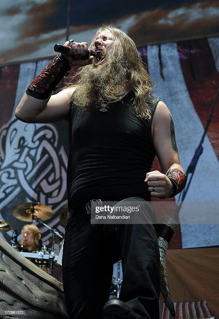 Singer <a gi-track='captionPersonalityLinkClicked' href=/galleries/search?phrase=Johan+Hegg&family=editorial&specificpeople=5400863 ng-click='$event.stopPropagation()'>Johan Hegg</a> of Amon Amarth performs at White River Amphitheater on July 3, 2013 in Auburn, Washington.