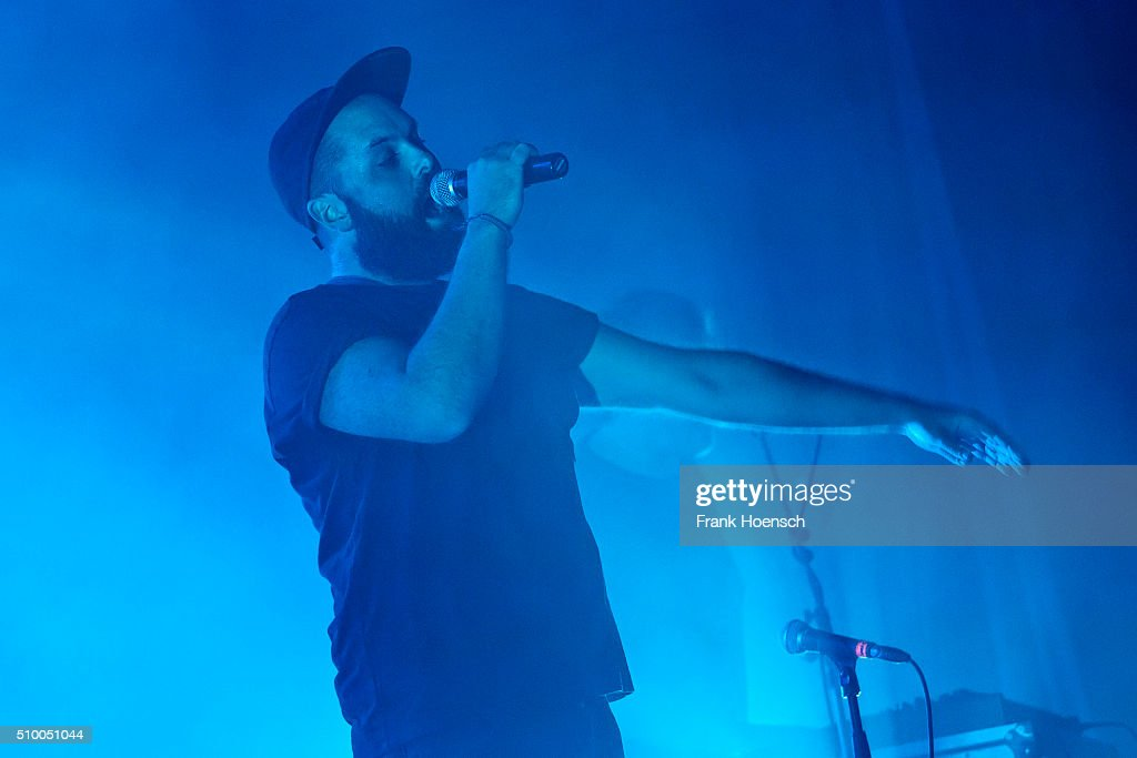 Singer Johannes Roegner of the German band Frittenbude performs live during a concert at the Huxleys on February 13, 2016 in Berlin, Germany.