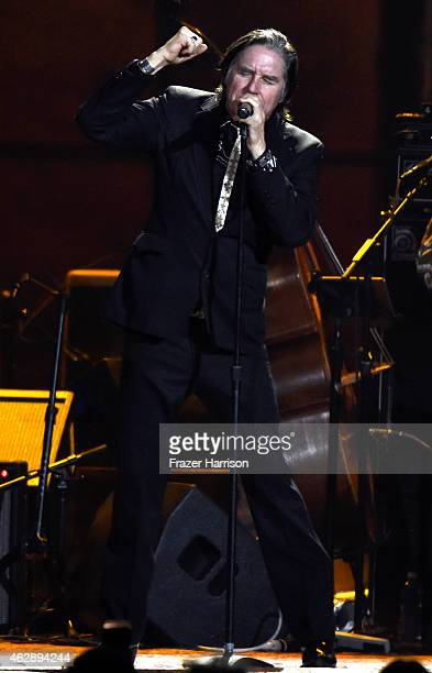 Singer John Doe performs onstage at the 25th anniversary MusiCares 2015 Person Of The Year Gala honoring Bob Dylan at the Los Angeles Convention...
