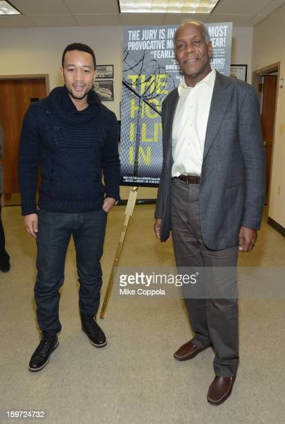 Singer John Legend and actor Danny Glover attend 'The House I Live In' Washington DC screening at Shiloh Baptist Church on January 19 2013 in...