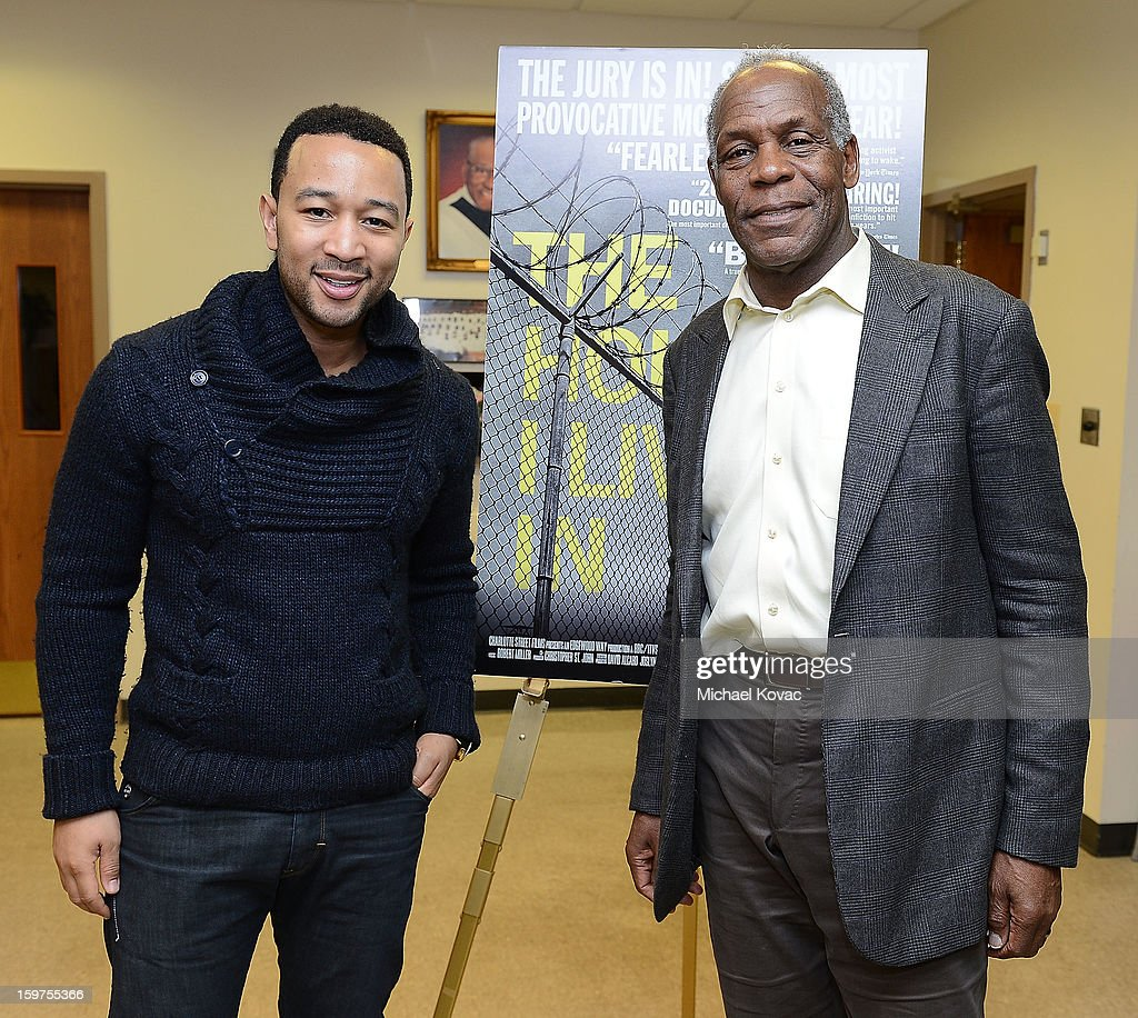Singer John Legend (L) and actor Danny Glover attend 'The House I Live In' Washington DC screening at Shiloh Baptist Church on January 19, 2013 in Washington, DC.