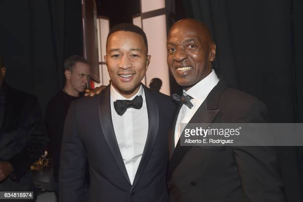 Singer John Legend and honoree Charles Ogletree attend the 48th NAACP Image Awards at Pasadena Civic Auditorium on February 11 2017 in Pasadena...