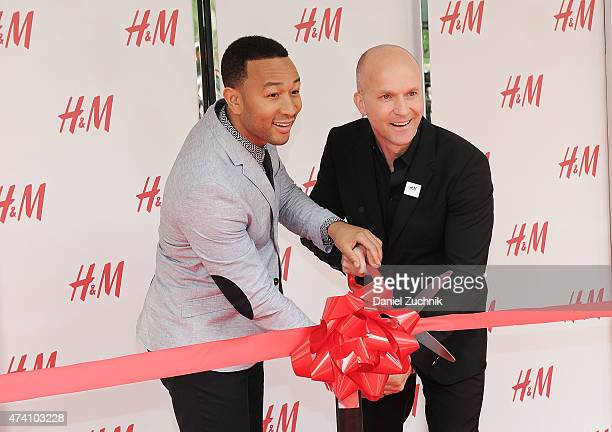 Singer John Legend and President of North America HM Daniel Kulle attend the HM Herald Square Flagship Store Grand Opening at HM Herald Square on May...