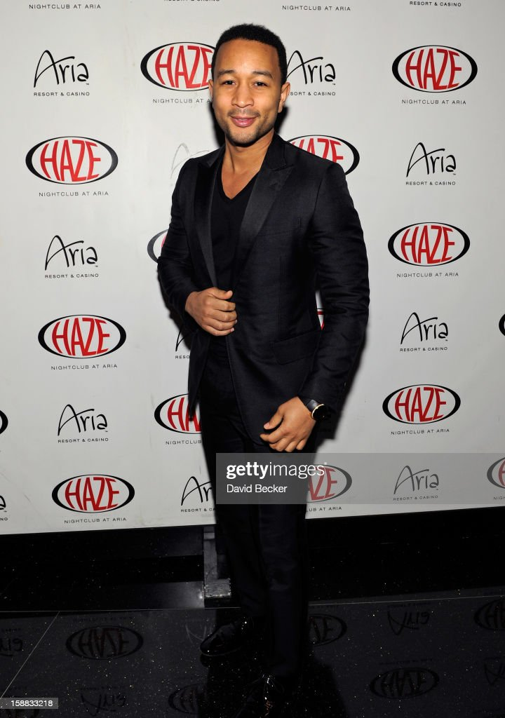 Singer <a gi-track='captionPersonalityLinkClicked' href=/galleries/search?phrase=John+Legend&family=editorial&specificpeople=201468 ng-click='$event.stopPropagation()'>John Legend</a> arrives at Haze Nightclub at the Aria Resort & Casino at CityCenter to perform on December 30, 2012 in Las Vegas, Nevada.