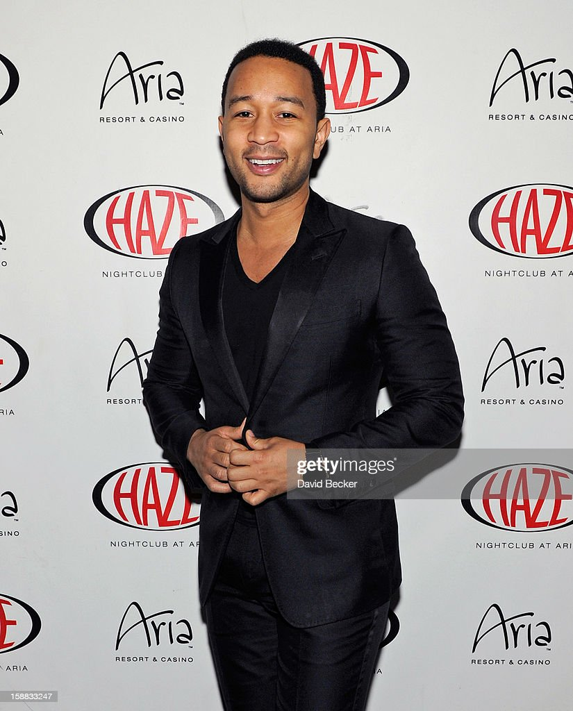 Singer John Legend arrives at Haze Nightclub at the Aria Resort & Casino at CityCenter to perform on December 30, 2012 in Las Vegas, Nevada.