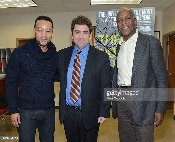 Singer John Legend Director/writer Eugene Jarecki and actor Danny Glover attend 'The House I Live In' Washington DC screening at Shiloh Baptist...