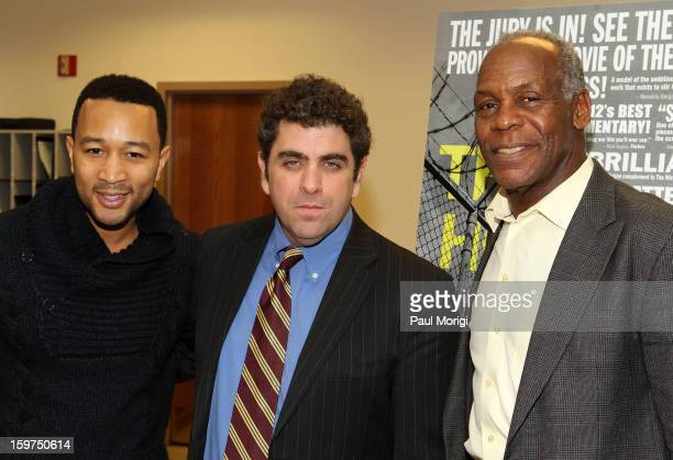 Singer John Legend Director/writer Eugene Jarecki and actor Danny Glover attend 'The House I Live In' Washington DC Screening And Performance By John...