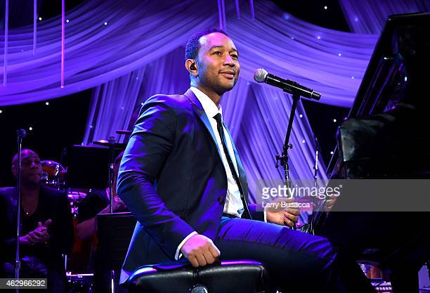 Singer John Legend onstage at the PreGRAMMY Gala and Salute To Industry Icons honoring Martin Bandier at The Beverly Hilton Hotel on February 7 2015...