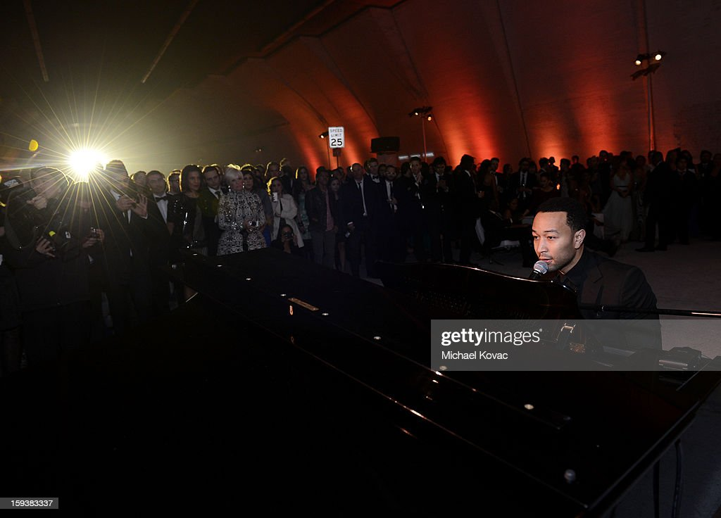 Singer <a gi-track='captionPersonalityLinkClicked' href=/galleries/search?phrase=John+Legend&family=editorial&specificpeople=201468 ng-click='$event.stopPropagation()'>John Legend</a> performs at The Art of Elysium's 6th Annual HEAVEN Gala After Party presented by Audi at 2nd Street Tunnel on January 12, 2013 in Los Angeles, California.