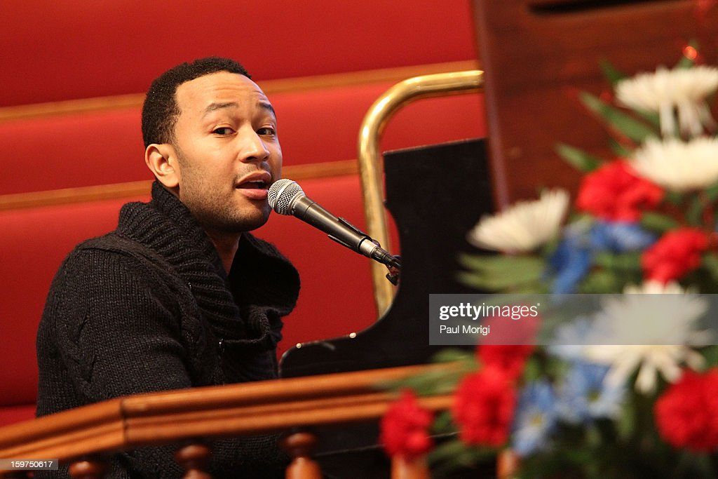 Singer John Legend performs at 'The House I Live In' Washington DC Screening And Performance By John Legend at Shiloh Baptist Church on January 19, 2013 in Washington, DC.
