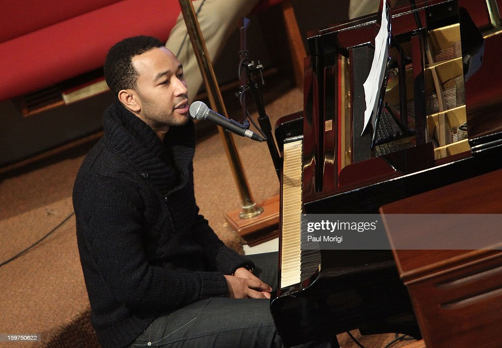 Singer <a gi-track='captionPersonalityLinkClicked' href=/galleries/search?phrase=John+Legend&family=editorial&specificpeople=201468 ng-click='$event.stopPropagation()'>John Legend</a> performs at 'The House I Live In' Washington DC Screening And Performance By <a gi-track='captionPersonalityLinkClicked' href=/galleries/search?phrase=John+Legend&family=editorial&specificpeople=201468 ng-click='$event.stopPropagation()'>John Legend</a> at Shiloh Baptist Church on January 19, 2013 in Washington, DC.