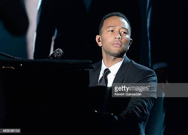 Singer John Legend performs 'Glory' onstage during The 57th Annual GRAMMY Awards at the at the STAPLES Center on February 8 2015 in Los Angeles...