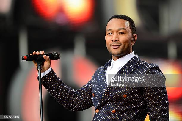 Singer John Legend performs on stage at the 'Chime For Change The Sound Of Change Live' Concert at Twickenham Stadium on June 1 2013 in London...