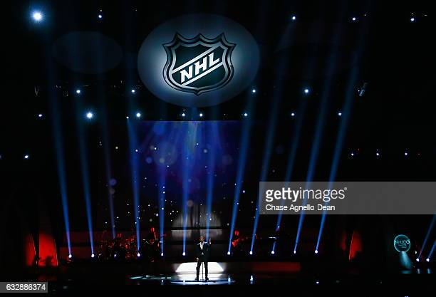 Singer John Legend performs onstage during the NHL 100 presented by GEICO show as part of the 2017 NHL AllStar Weekend at the Microsoft Theater on...