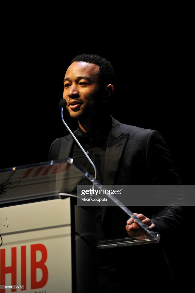 Singer John Legend speaks onstage at The Hip Hop Inaugural Ball II sponsored by Heineken USA at Harman Center for the Arts on January 20 2013 in...