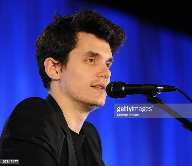 Singer John Mayer performs at the Ferrari 458 Italia Brings Funds for Haiti Relief event at Fleur de Lys on March 18 2010 in Los Angeles California