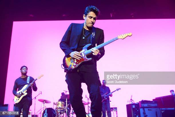 Singer John Mayer performs onstage during 'The Search for Everything Tour 2017' at The Forum on April 21 2017 in Inglewood California