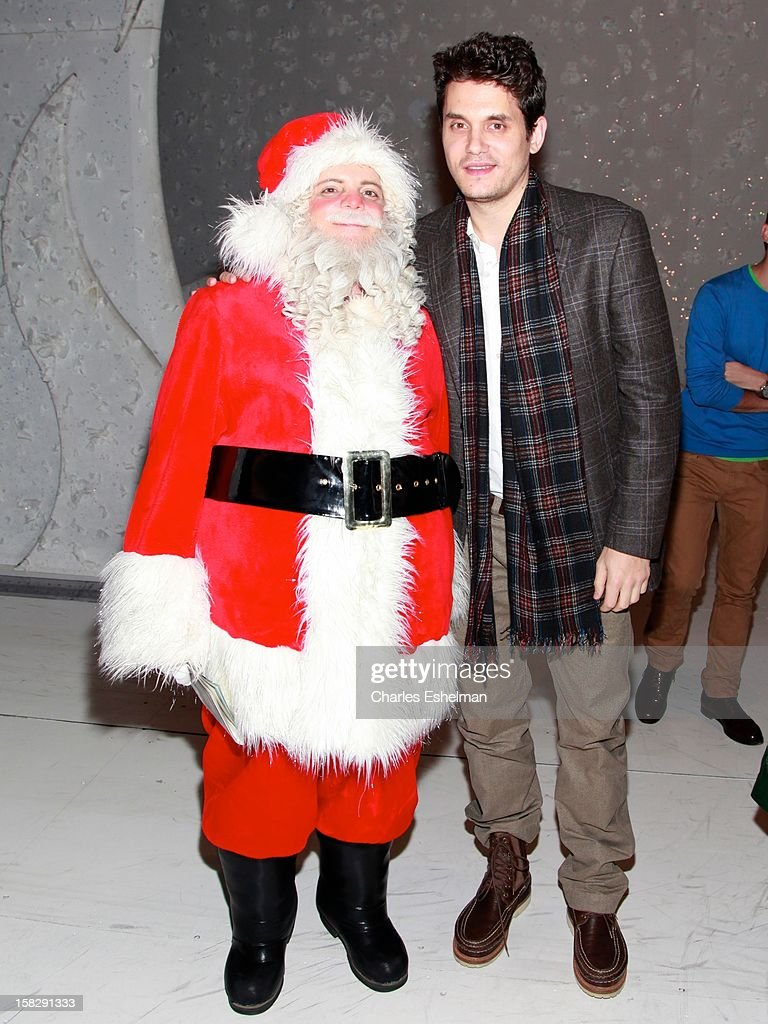 Singer <a gi-track='captionPersonalityLinkClicked' href=/galleries/search?phrase=John+Mayer&family=editorial&specificpeople=201930 ng-click='$event.stopPropagation()'>John Mayer</a> visits the cast of Broadway's 'A Christmas Story, The Musical' at the Lunt-Fontanne Theatre on December 12, 2012 in New York City.