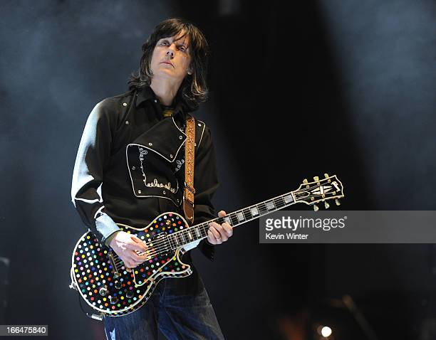 Singer John Squire of the band The Stone Roses performs onstage during day 1 of the 2013 Coachella Valley Music Arts Festival at the Empire Polo Club...