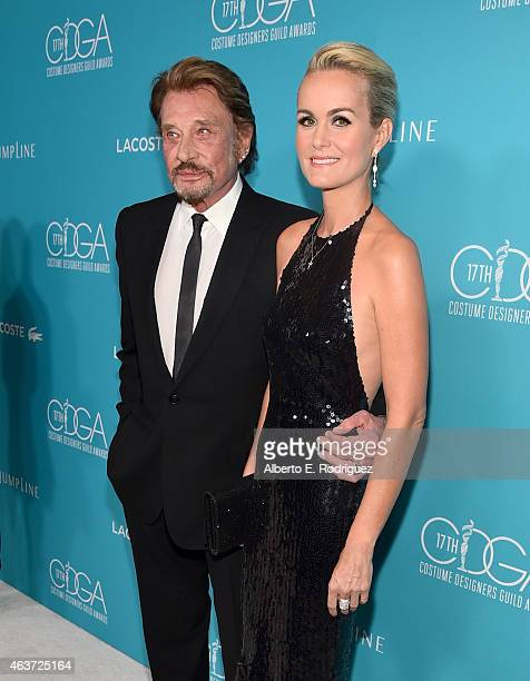 Singer Johnny Hallyday and Laeticia Hallyday attend the 17th Costume Designers Guild Awards with presenting sponsor Lacoste at The Beverly Hilton...