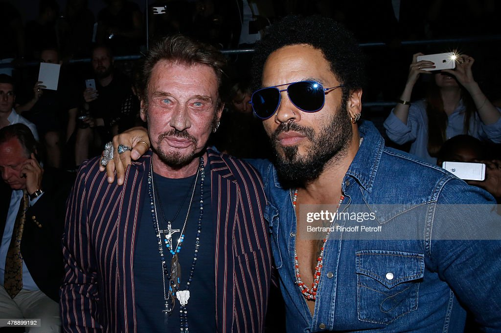 Singer Johnny Hallyday and Singer Lenny Kravitz attend the Saint Laurent Menswear Spring/Summer 2016 show as part of Paris Fashion Week on June 28, 2015 in Paris, France.