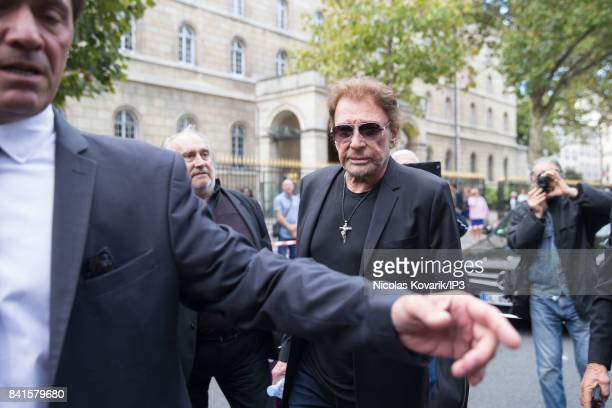 Singer Johnny Hallyday attends Mireille Darc's Funeral at Eglise Saint Sulpice on September 1 2017 in Paris France French actress died aged of 79...