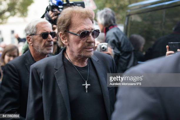Singer Johnny Hallyday attends Mireille Darc's Funerals at Eglise Saint Sulpice at Eglise Saint Sulpice on September 1 2017 in Paris France French...