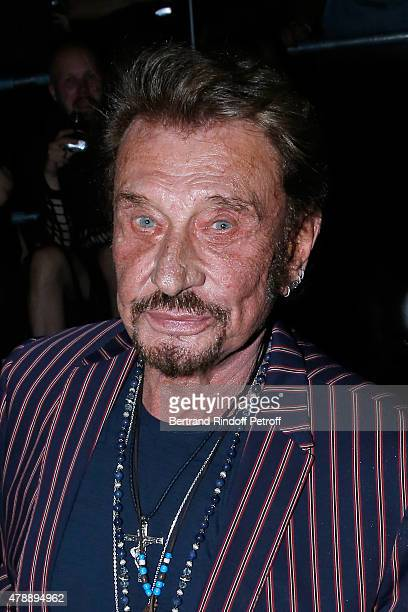 Singer Johnny Hallyday attends the Saint Laurent Menswear Spring/Summer 2016 show as part of Paris Fashion Week on June 28 2015 in Paris France
