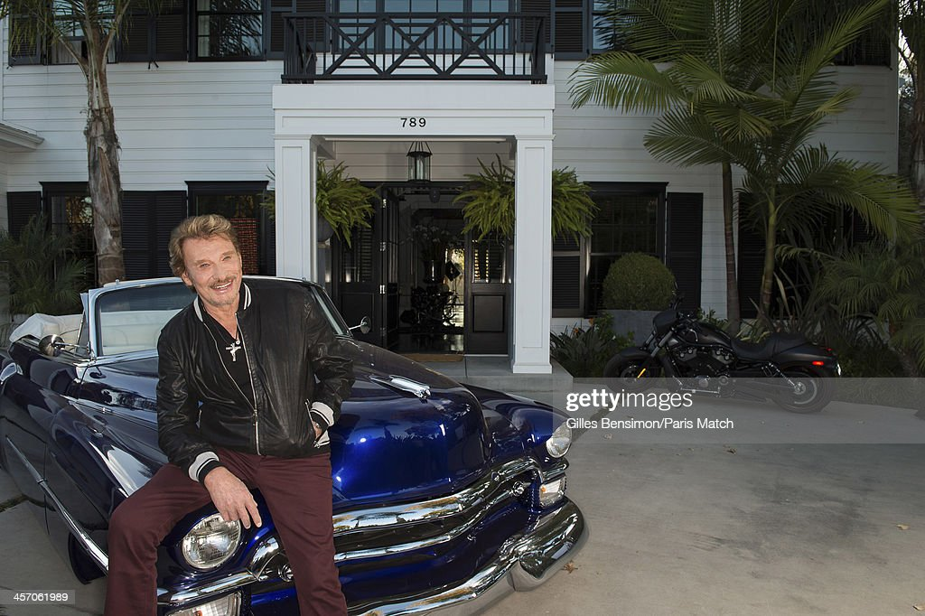 Singer Johnny Hallyday is photographed at home for Paris Match on November 14, 2013 in Los Angeles, California.