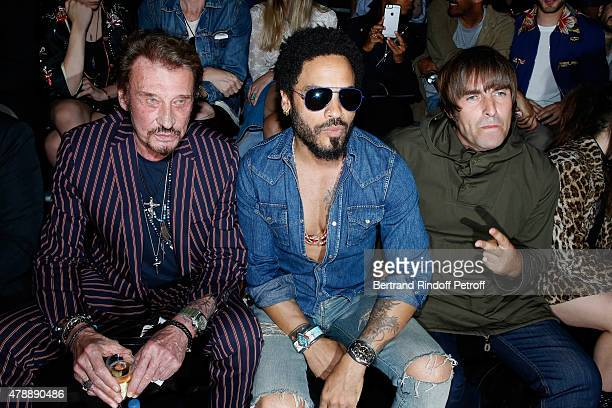 Singer Johnny Hallyday Singer Lenny Kravitz and Musician Liam Gallagher attend the Saint Laurent Menswear Spring/Summer 2016 show as part of Paris...