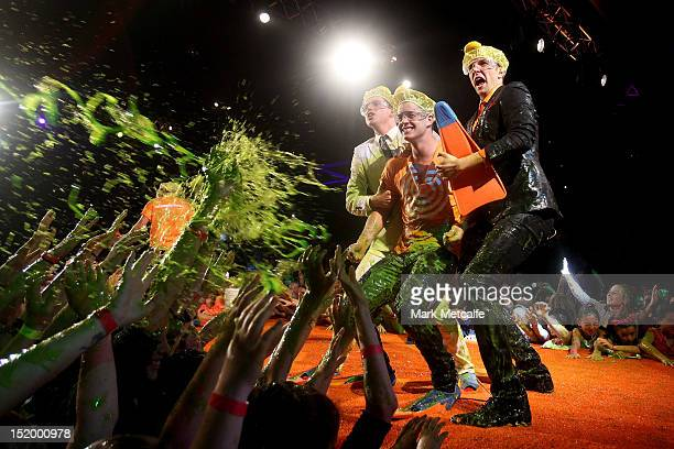 Singer Johnny Ruffo reacts after getting slimed during the matinee Nickelodeon Slimefest 2012 show at Hordern Pavilion on September 15 2012 in Sydney...