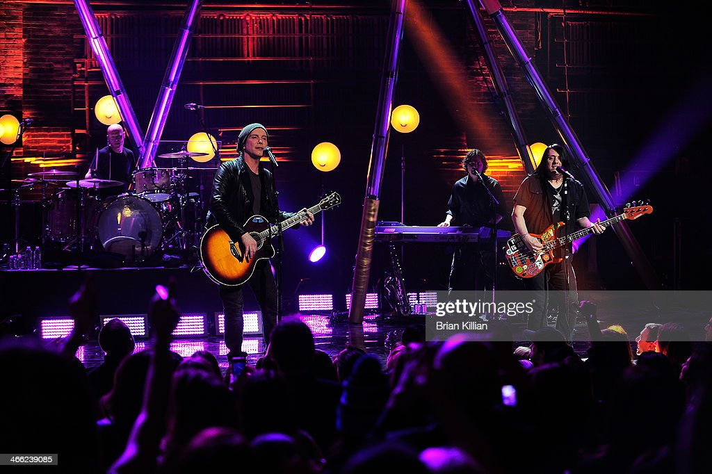 Singer Johnny Rzeznik and bassist Robby Takac of the group The Goo Goo Dolls perform during VH1's 'Super Bowl Blitz: Six Nights + Six Concerts' at St. George Theatre on January 31, 2014 in the Staten Island borough of New York City.