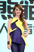 Singer Jolin Tsai attends an online game promotional event on January 12 2015 in Taipei Taiwan