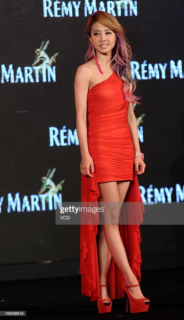 Singer Jolin Tsai attends Remy Martin promotional event at Hyatt on the Bund Hotel on October 30, 2012 in Shanghai, China.